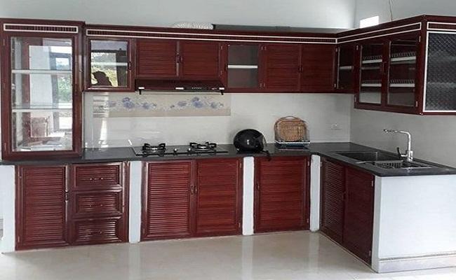 17 mẫu tủ bếp nhôm kính giả gỗ đẹp, giá rẻ