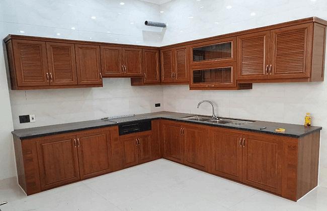 20 mẫu tủ bếp nhôm kính vân gỗ đẹp