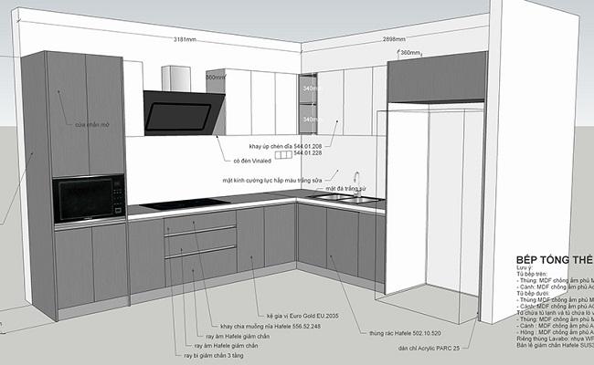 Bản vẽ chi tiết tủ bếp