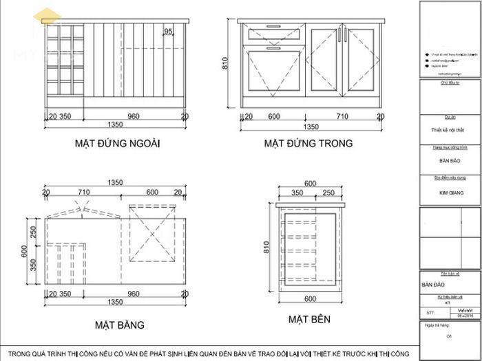 Bản vẽ 2D tủ bếp chữ L có bàn đảo