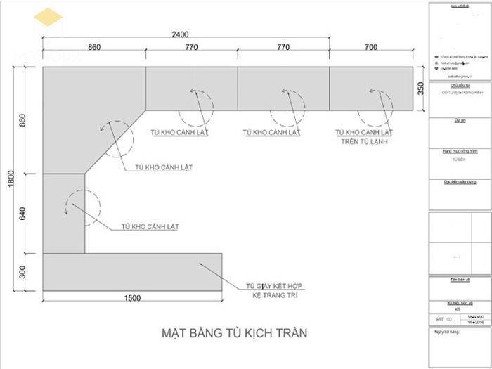 Bản vẽ thiết kế tủ bếp chữ L cơ bản