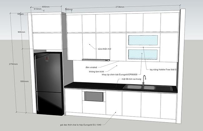 Bản vẽ tủ bếp chữ i