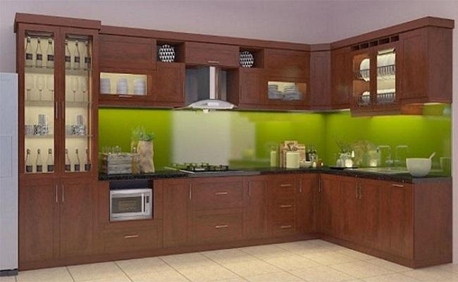Các kiểu tủ bếp bằng nhôm giả gỗ