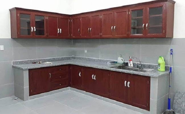 Các kiểu tủ bếp nhôm sơn tĩnh điện giả gỗ