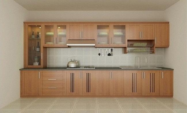 Tủ bếp bằng nhôm omega giả gỗ