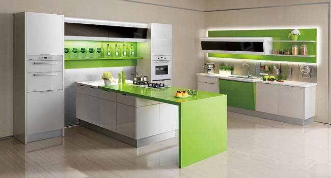 Kiểu tủ bếp hiện đại có bàn đảo