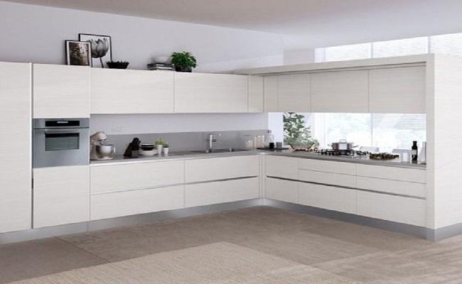 Mẫu tủ bếp nhựa màu trắng cao cấp