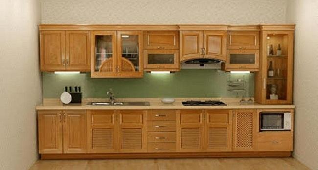 Giá tủ bếp gỗ sồi Mỹ