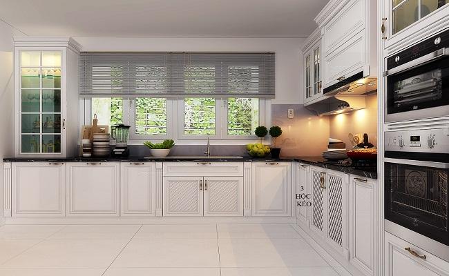 Giá tủ bếp gỗ sồi sơn trắng