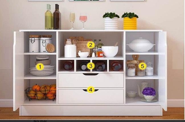 Tủ kệ bếp nhiều ngăn chứa