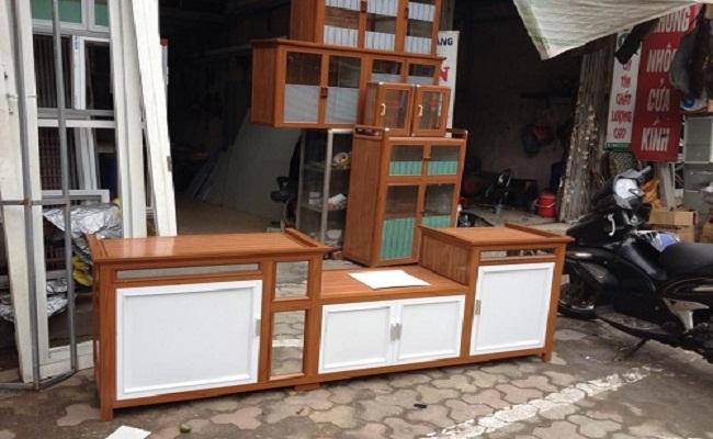 Kệ tủ bếp nhôm giả gỗ