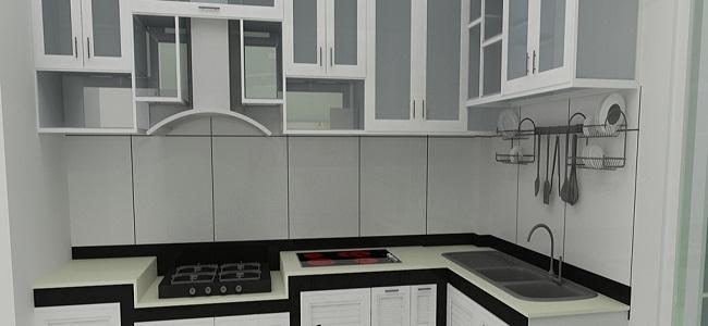 Kệ tủ bếp bằng nhôm kính