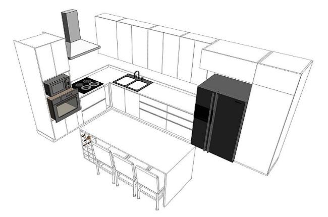 Kích thước tủ bếp phù hợp vơi người sử dụng là bao nhiêu?