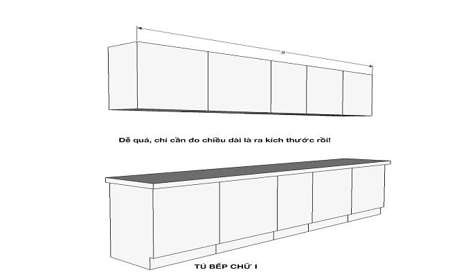 Kích thước tủ bếp treo tường chữ I