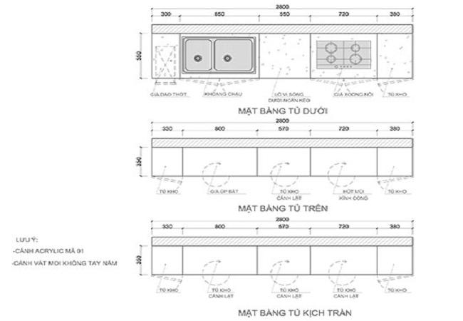 Mặt bằng bản vẽ thiết kế tủ bếp chữ i