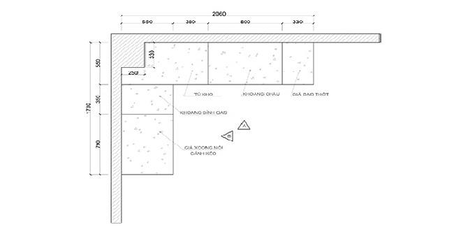 Mặt bằng bản vẽ thiết kế tủ bếp chữ L có bàn đảo
