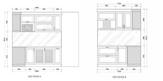 Mặt đứng bản vẽ thiết kế tủ bếp chữ L có bàn đảo