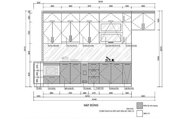 Mặt đứng bản vẽ thiết kế tủ bếp vách ngăn