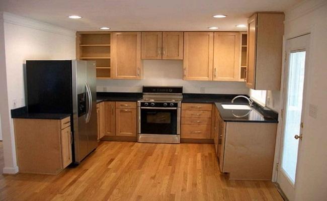 Nội thất tủ bếp gia đình chữ U bằng gỗ