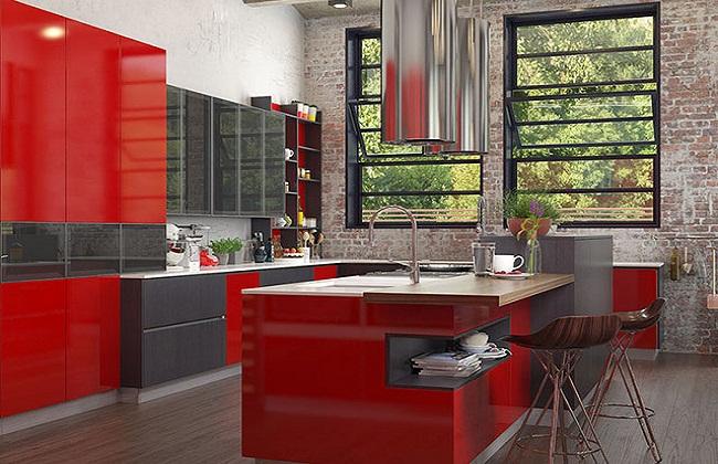 Mẫu thiết kế tủ bếp có cửa sổ