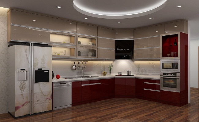 Mẫu thiết kế tủ bếp có máy rửa bát