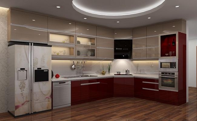 Mẫu thiết kế tủ bếp có máy rửa bát tiện dụng