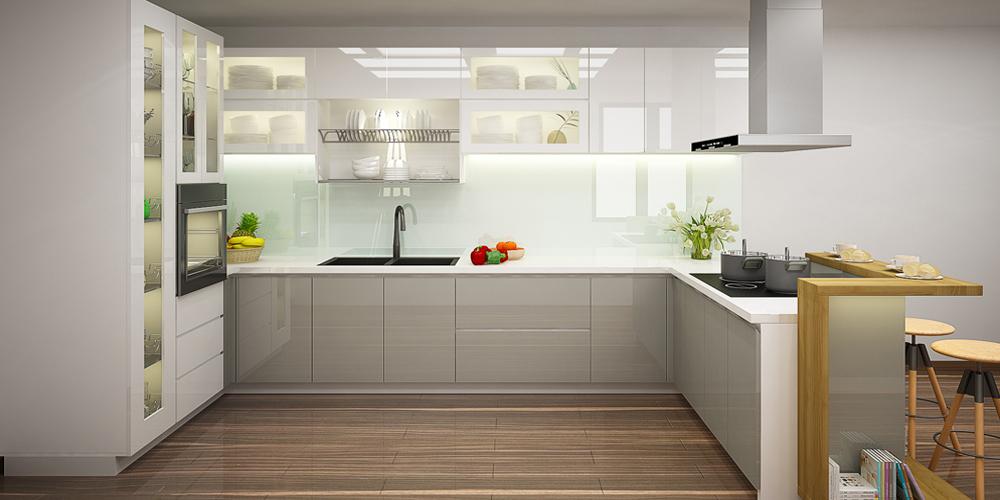 Mẫu tủ bếp Acrylic hiện đại giá rẻ