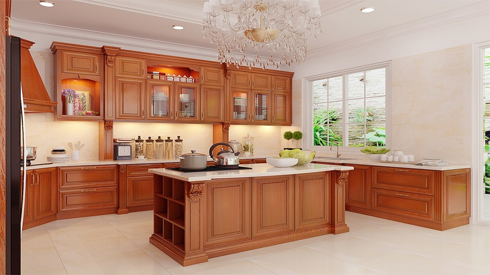 Mẫu tủ bếp bằng gỗ tự nhiên cho gia đình