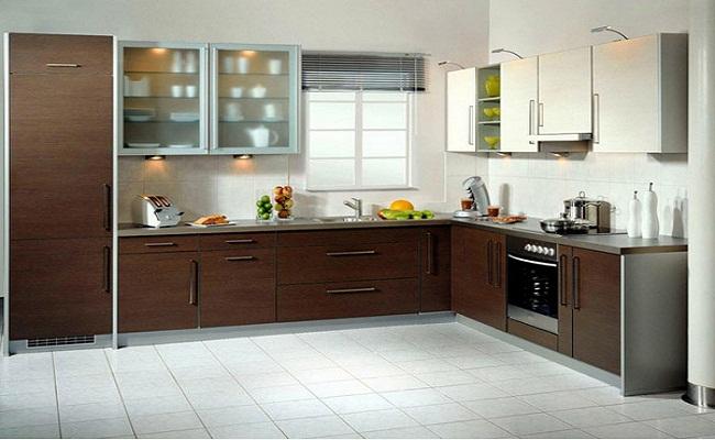 Mẫu tủ bếp chữ L có cửa sổ đẹp đơn giản