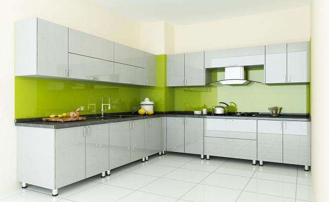 Mẫu tủ bếp chữ L đơn giản bằng Acrylic