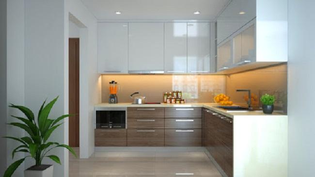 Mẫu tủ bếp chữ L đơn giản