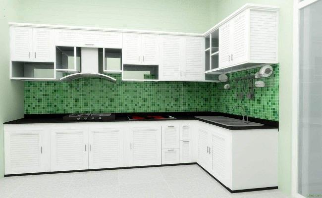 Tủ bếp nhôm kính trắng sứ chữ L