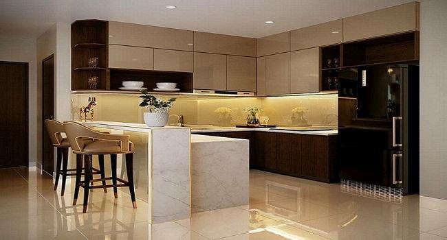 Tủ bếp có bàn đảo và quầy bar cho nhà chung cư
