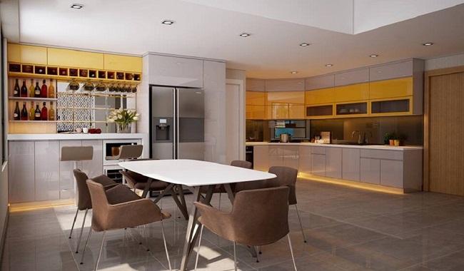 Tủ bếp Acrylic hiện đại cho nhà chung cư