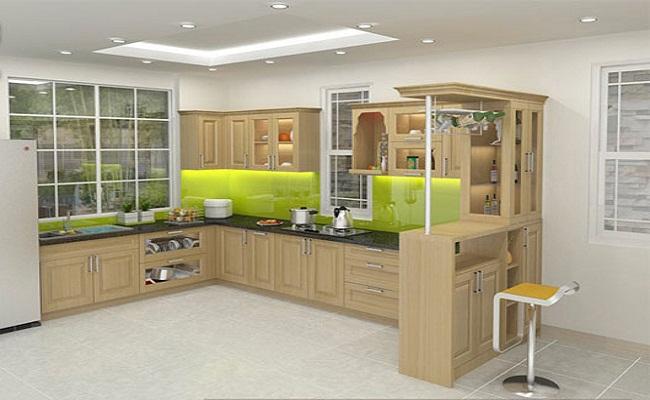 Mẫu tủ bếp có bàn thờ ông táo bằng gỗ Veneer