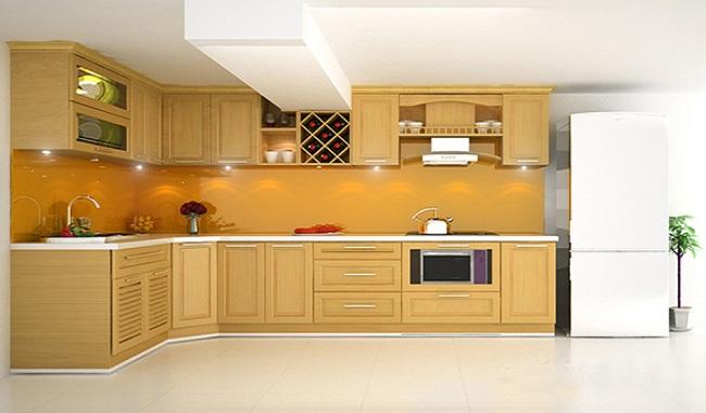 Mẫu tủ bếp đơn giản bằng gỗ sồi Mỹ