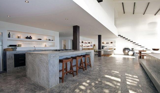 Mẫu tủ bếp dưới giá rẻ làm bằng bê tông