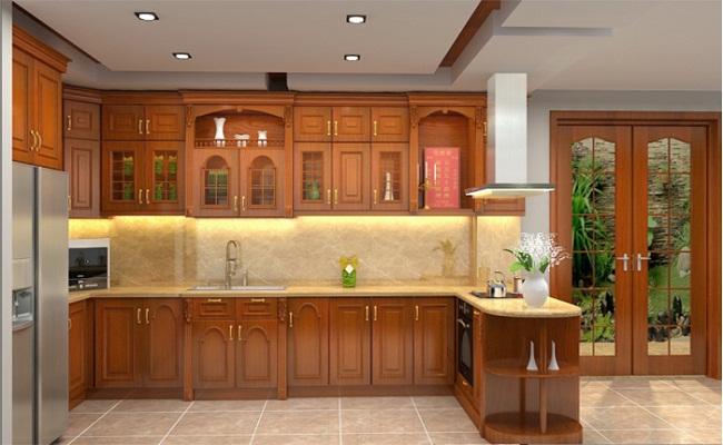 Mẫu tủ bếp gỗ có bàn thờ ông Táo đẹp