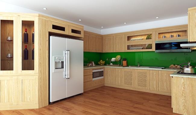 Mẫu tủ bếp gỗ sồi trắng