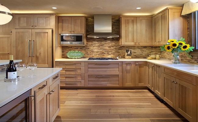 Mẫu tủ bếp gỗ sồi Mỹ