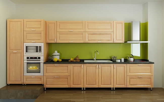Mẫu tủ bếp gỗ sồi hiện đại giá rẻ