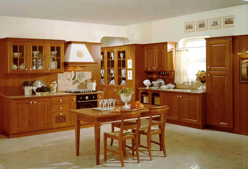 Mẫu tủ bếp gỗ sồi Nga cổ điển