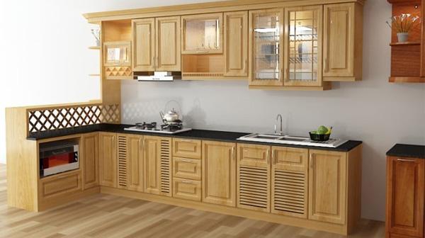 Mẫu tủ bếp gỗ sồi Nga chữ L giá rẻ