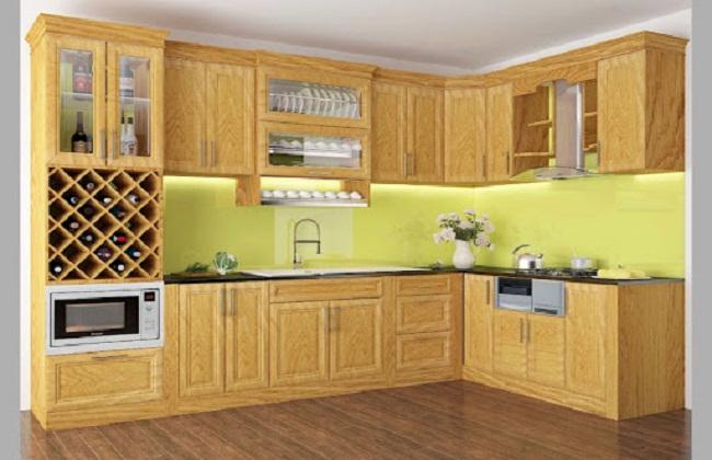 Mẫu tủ bếp gỗ sồi Nga chữ L hiện đại