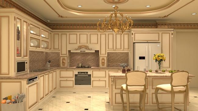 Mẫu tủ bếp gỗ tự nhiên đẹp hiện đại cao cấp