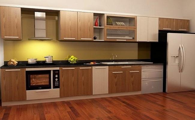 Mẫu tủ bếp gỗ veneer sồi đẹp