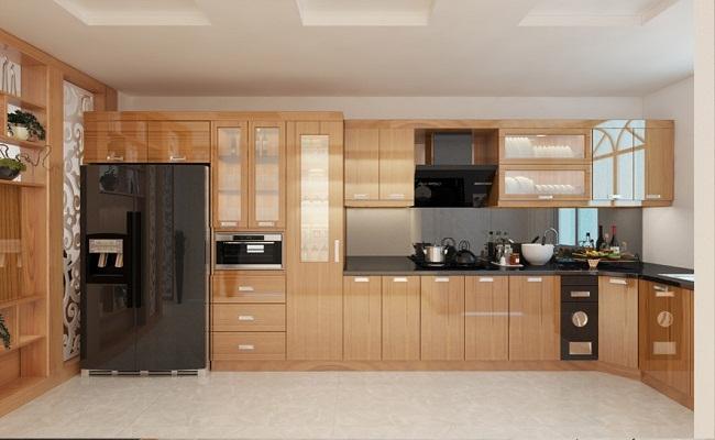 Mẫu tủ bếp gỗ veneer sồi