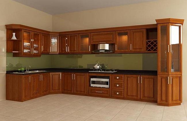 Mẫu tủ bếp gỗ xoan đào hiện đại giá rẻ