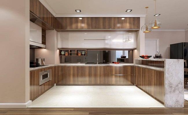 Mẫu tủ bếp inox giả gỗ đẹp
