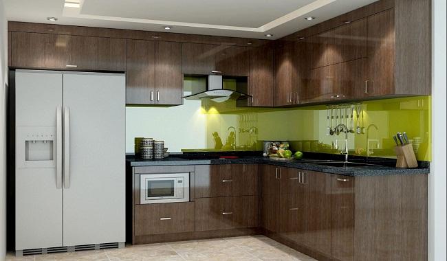 Mẫu tủ bếp inox giả gỗ